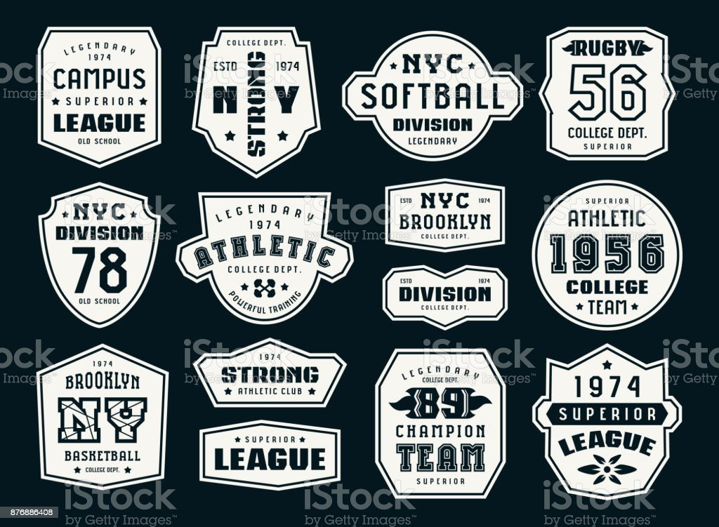 Set of emblems and patches in sport style royalty-free set of emblems and patches in sport style stock illustration - download image now