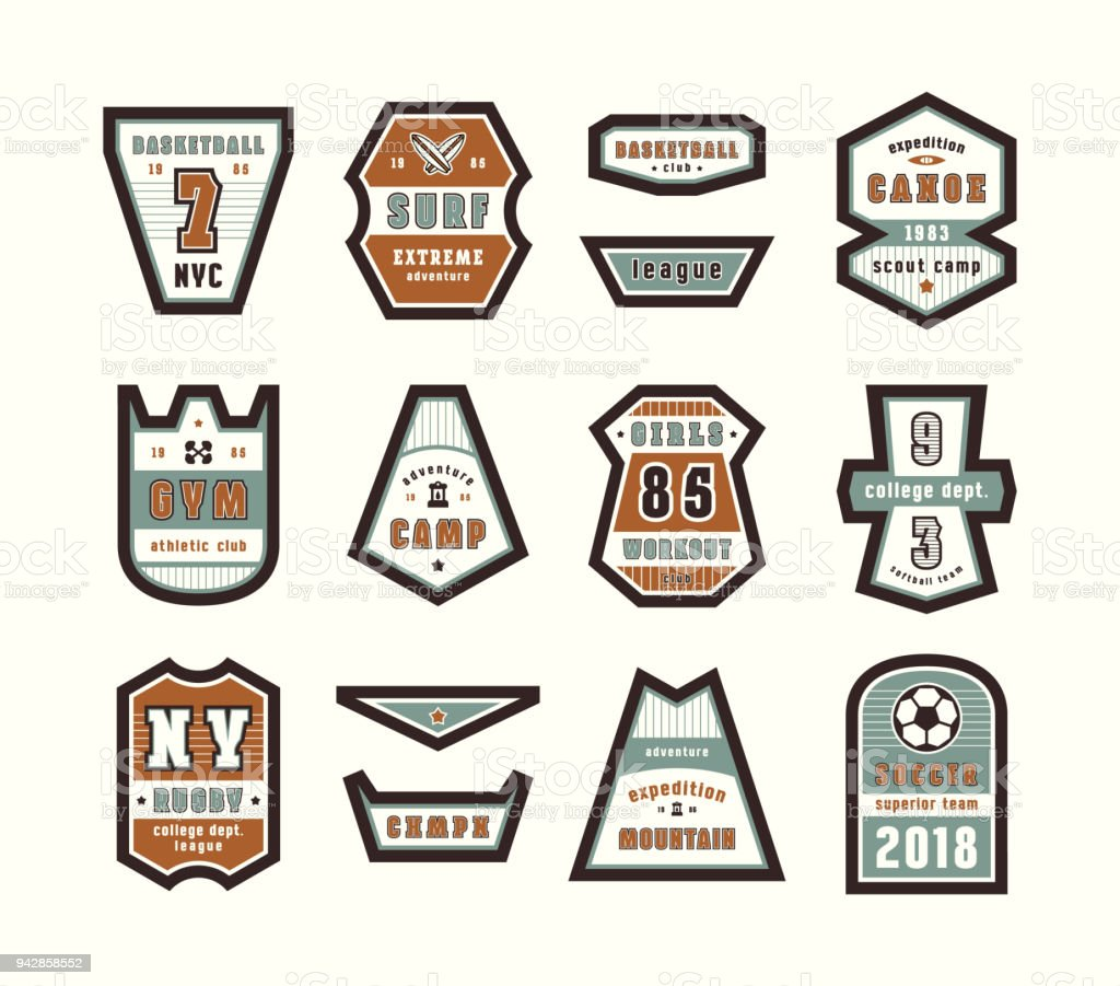 Set of emblems and patches in sport style vector art illustration