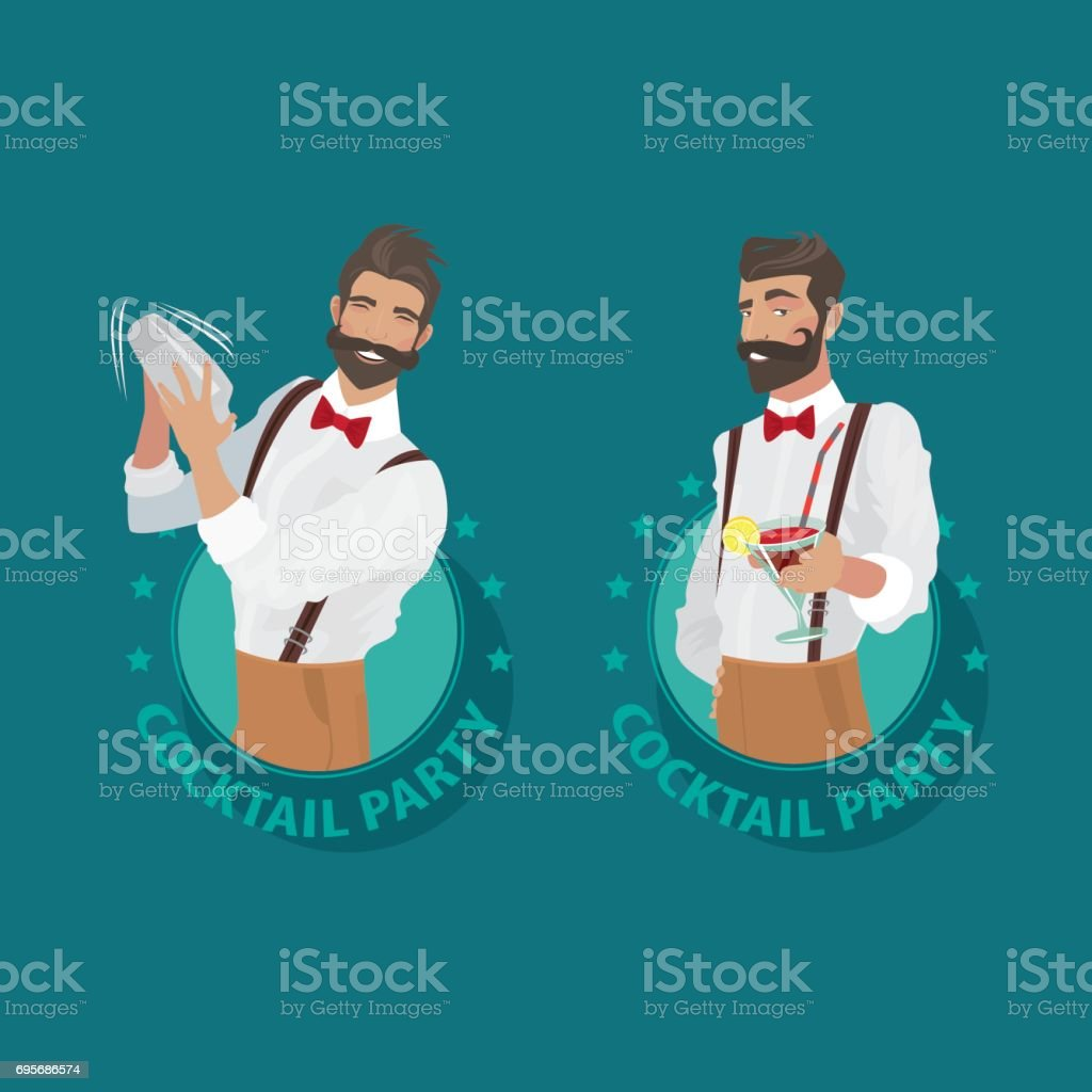 Set of emblems Cocktail Party with bartender vector art illustration