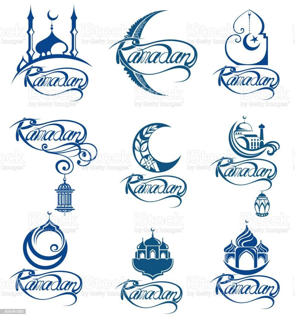 Set of emblems for islamic holy holiday Ramadan vector art illustration