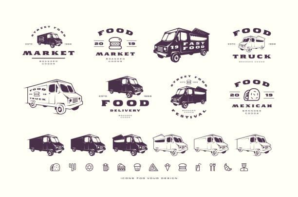 satz von emblemen für street food-markt, festival, lieferung - vans stock-grafiken, -clipart, -cartoons und -symbole