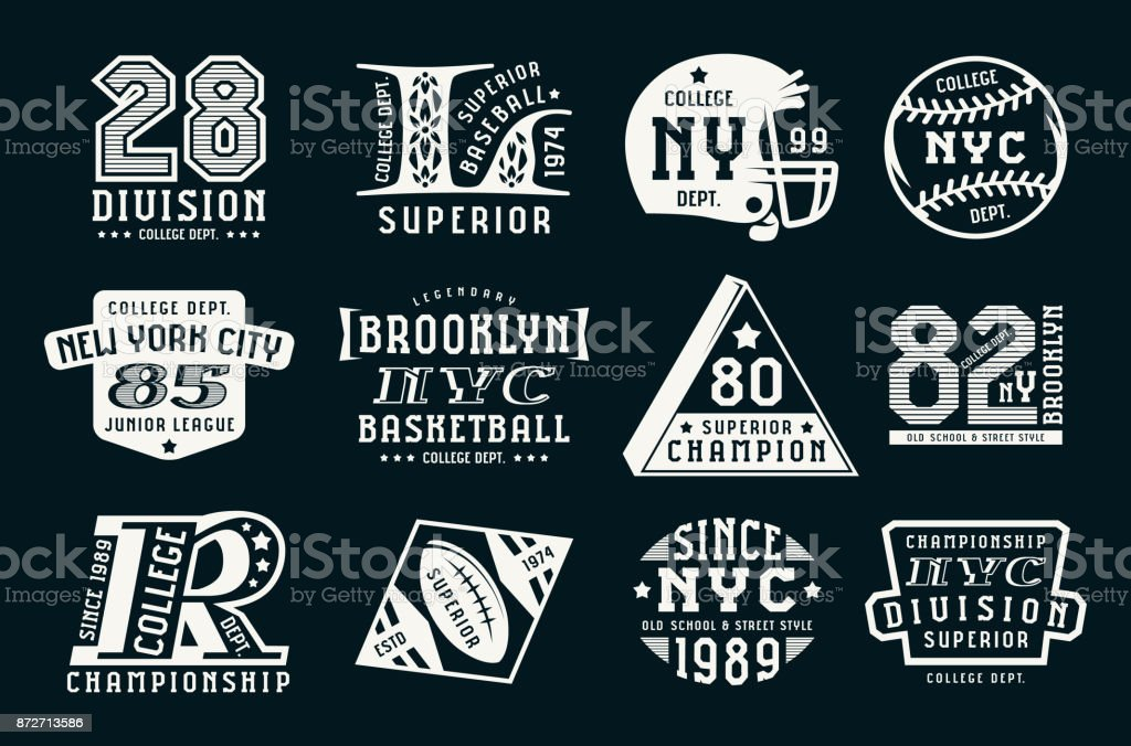Set of emblems in sport style vector art illustration