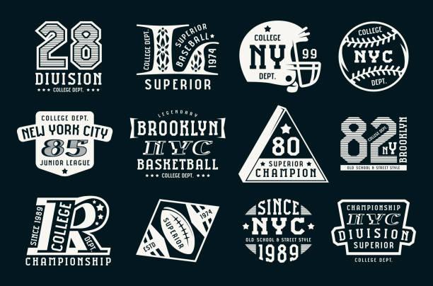 Set of emblems in sport style vector art illustration
