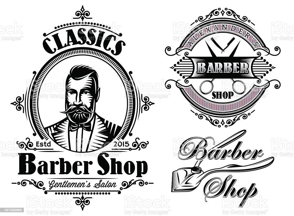 set of emblems on a theme barber shop vector art illustration