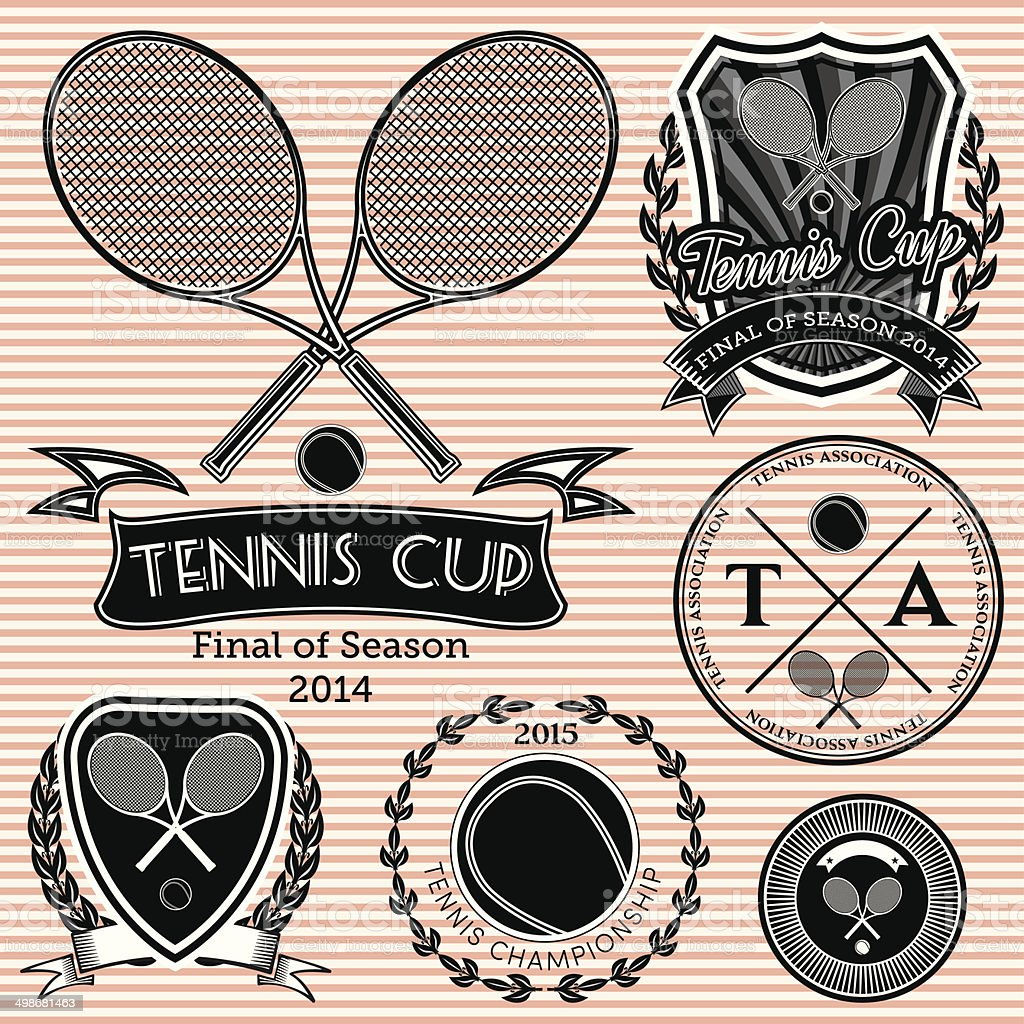 set of emblems on big tennis vector art illustration