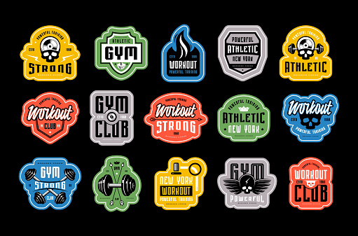 Set of emblems, tags and badges for gym, workout, athletic club