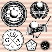 set of emblems to topic golf game
