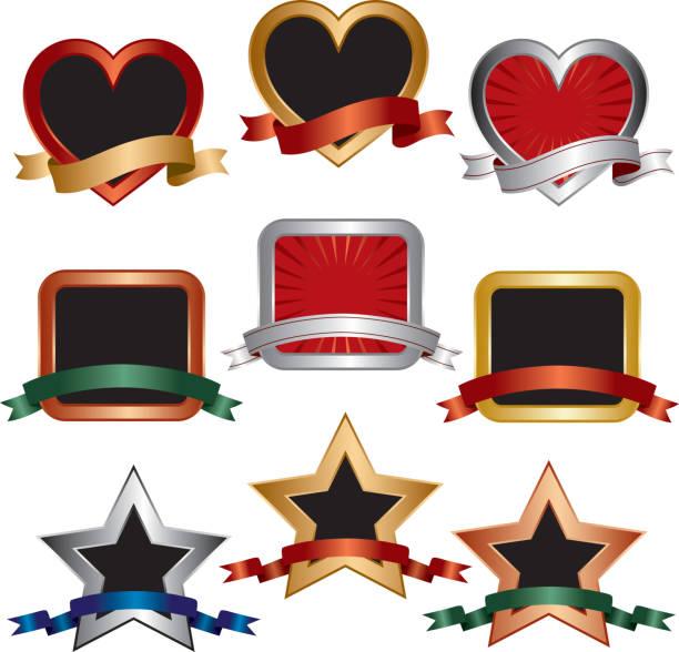 ilustrações, clipart, desenhos animados e ícones de conjunto de emblemas - molduras de certificados e premiações