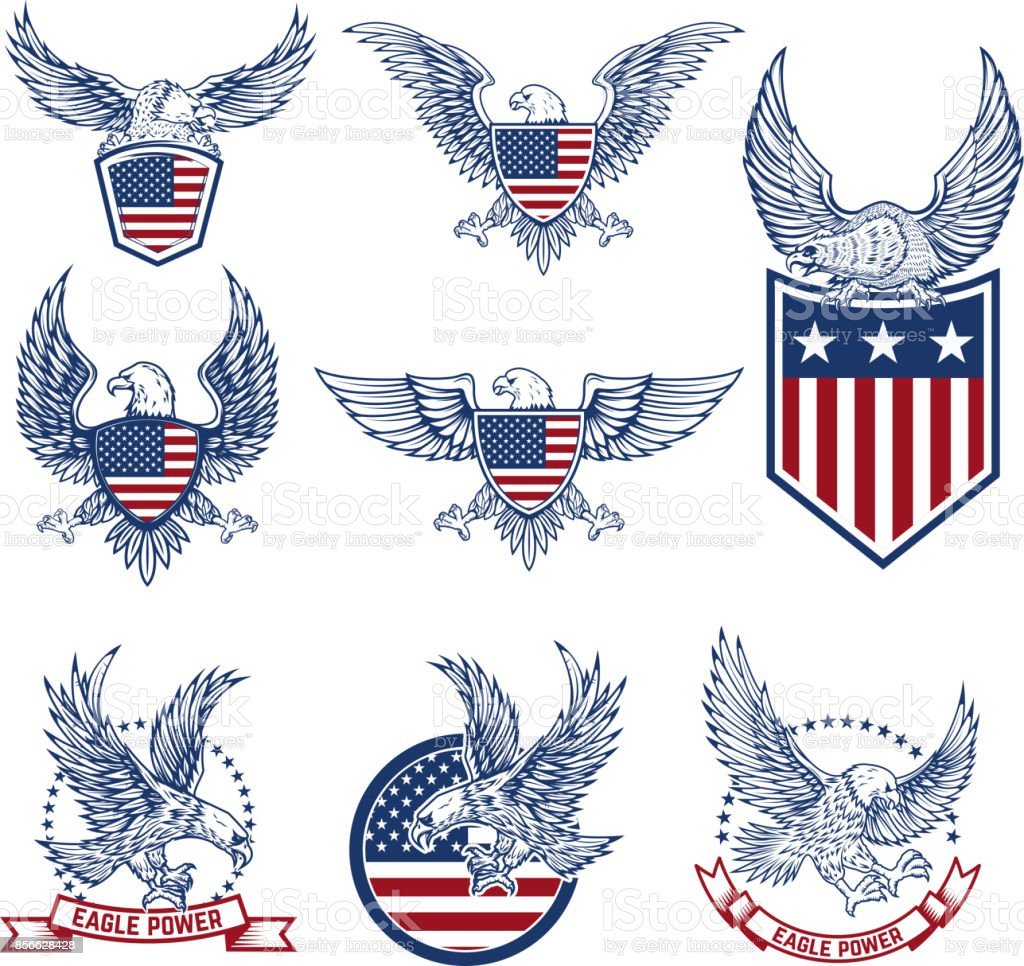 Set of emblems with eagles and american flags. vector art illustration