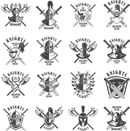 Set of emblems with knights, swords and shields. Design element for label, emblem, sign, poster, t shirt.