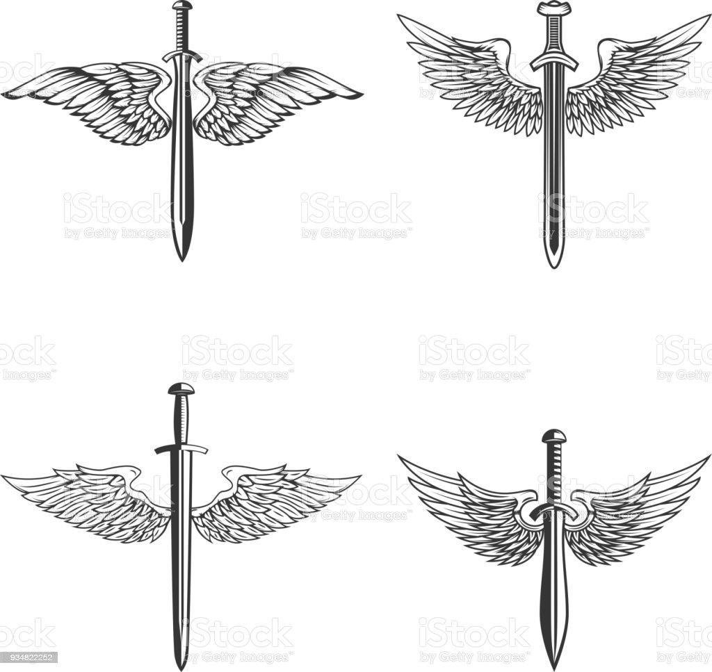 중세 검 술과 날개와 엠 블 럼의 집합입니다. 레이블, 상징, 기호에 대 한 디자인 요소입니다. - 로열티 프리 검 벡터 아트