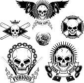 Set of emblems with skulls