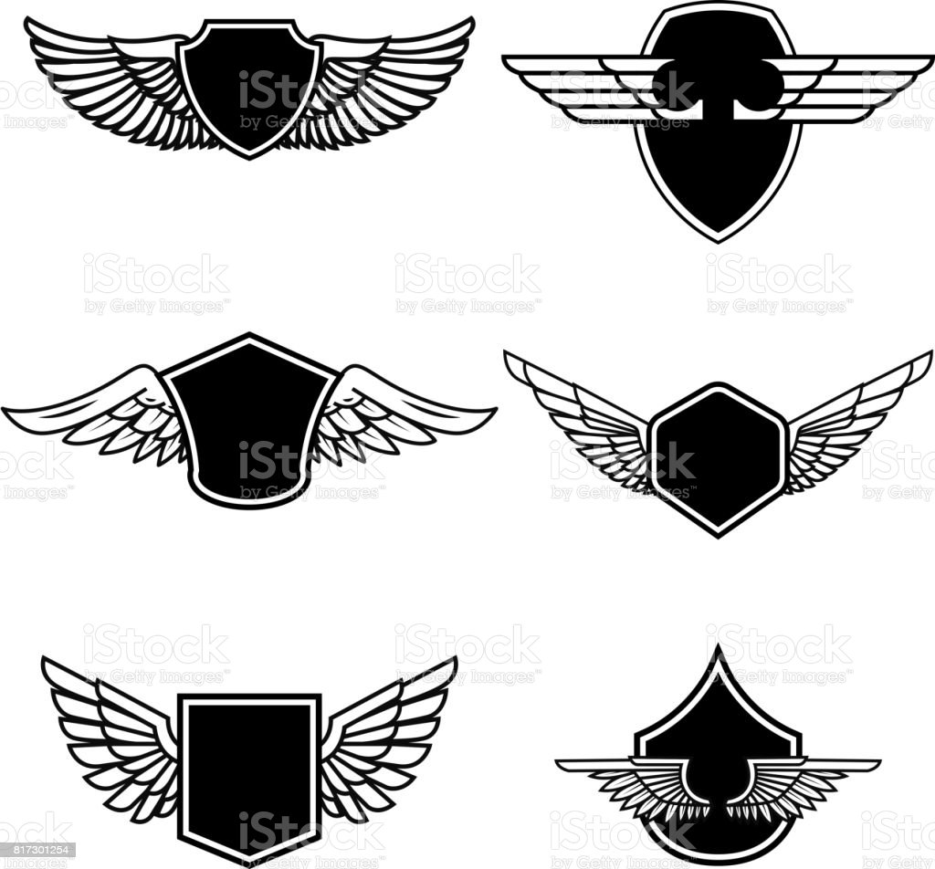 Set of emblems with wings isolated on white background. Design elements for label, emblem, sign, badge. Vector illustration vector art illustration