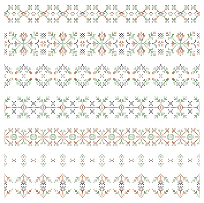 set of embroidered patterns