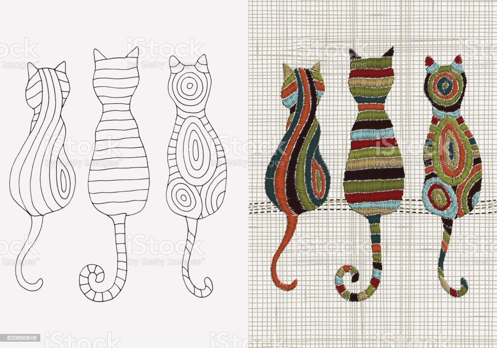 Set Of Embroidery Designs Cats Vector Embroidery Home Decor Linen ...