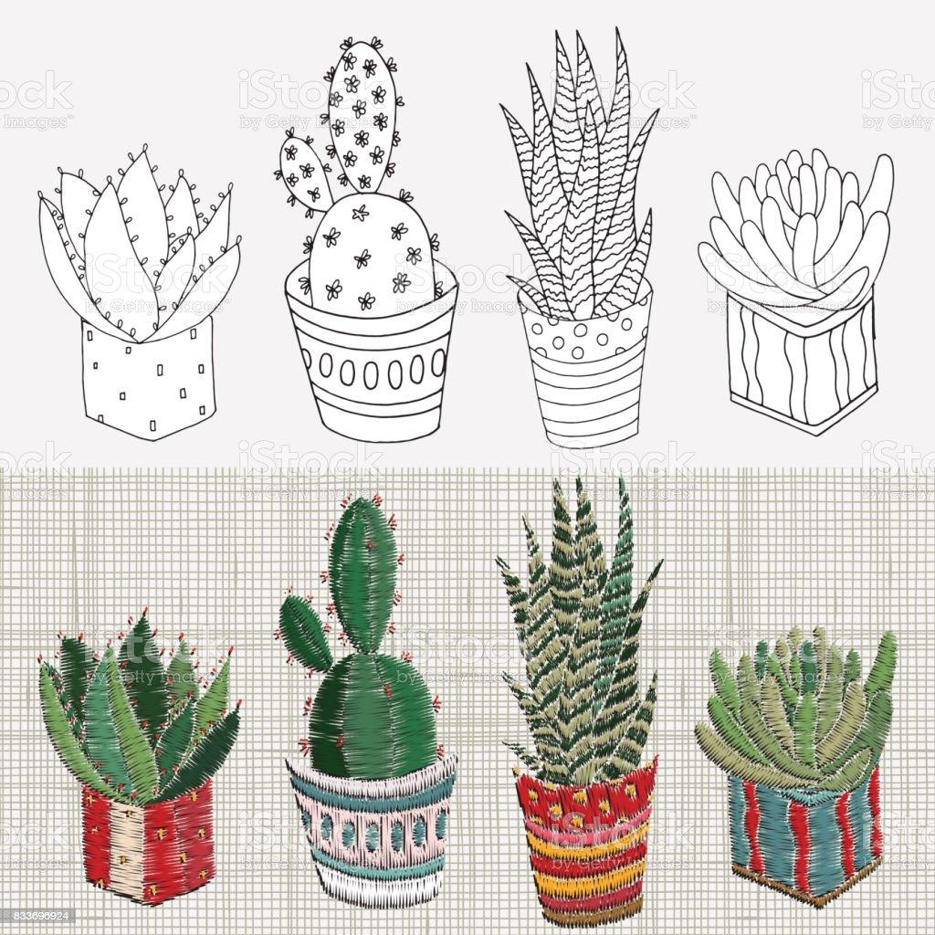 Ilustración de Conjunto De Diseños De Bordados Suculentas Cactus Y ...