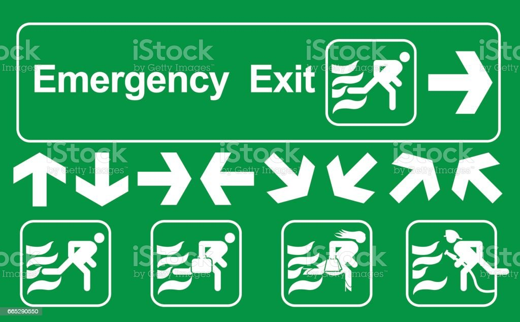 Green emergency exit sign on white , escape route signs , vector...