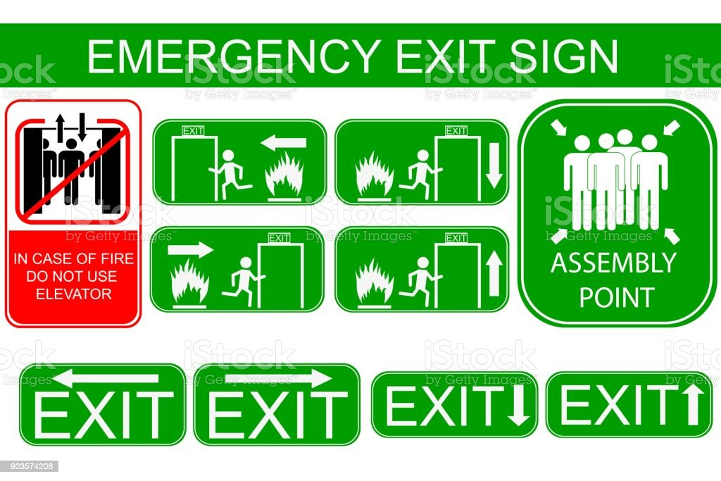 Set Of Emergency Exit Sign Stock Vector Art More Images Of