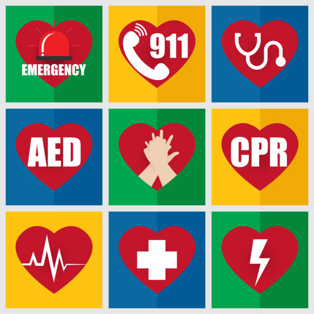 Set of Emergency Flat Icon about First Aid and CPR vector art illustration