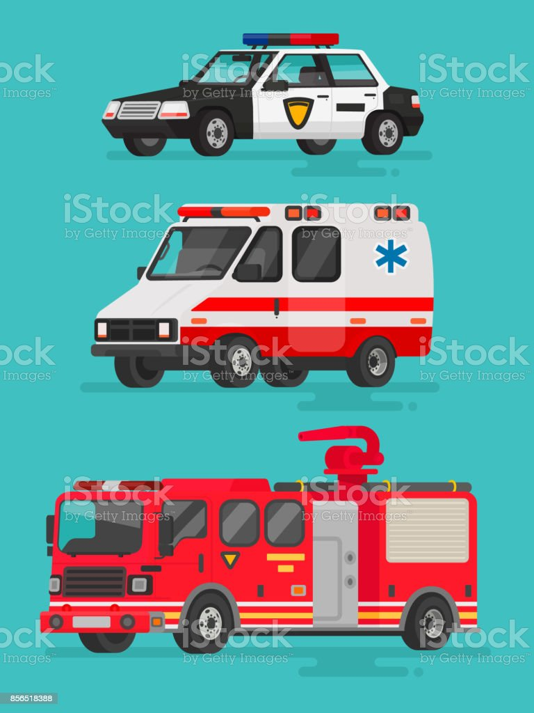 Set of emergency vehicles. Police car, ambulance and fire truck