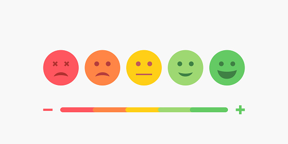 Set of Emoji Colored Flat Icons. Vector Set of Emoticons. Sad and Happy Mood Icons. Vote Scale Symbol Set. clipart