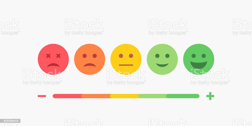 Set of Emoji Colored Flat Icons. Vector Set of Emoticons. Sad and Happy Mood Icons. Vote Scale Symbol Set. vector art illustration