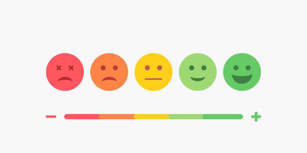 set of emoji colored flat icons. vector set of emoticons. sad and happy mood icons. vote scale symbol set. - evaluation stock illustrations