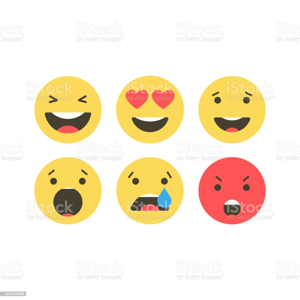 Set of emoji icons. Funny faces with different emotions. Emoji flat style icons on white background. Social media reactions Vector illustration. vector art illustration