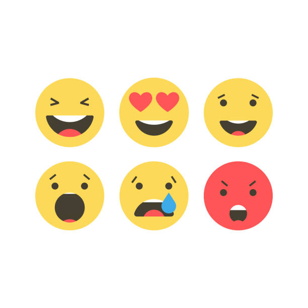 Set of emoji icons. Funny faces with different emotions. Emoji flat style icons on white background. Social media reactions Vector illustration. Set of emoji icons. Funny faces with different emotions. Emoji flat style icons on white background. Social media reactions Vector illustration displeased stock illustrations