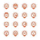 Set of emoji lightbulb emoticons