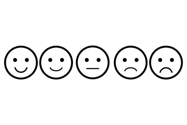 Ensemble d'emoji. Icône de vecteur d'émoticônes. Visages différents. Notation pour le web ou app - Illustration vectorielle
