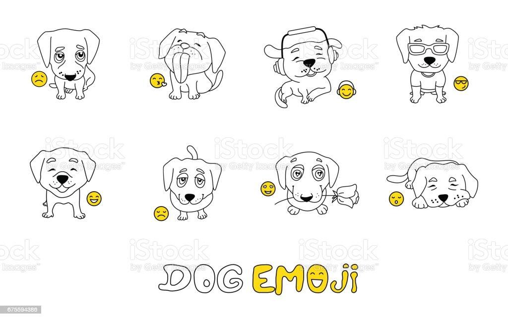 Conjunto De Emojis Con Lindo Perro Para Colorear - Arte vectorial de ...