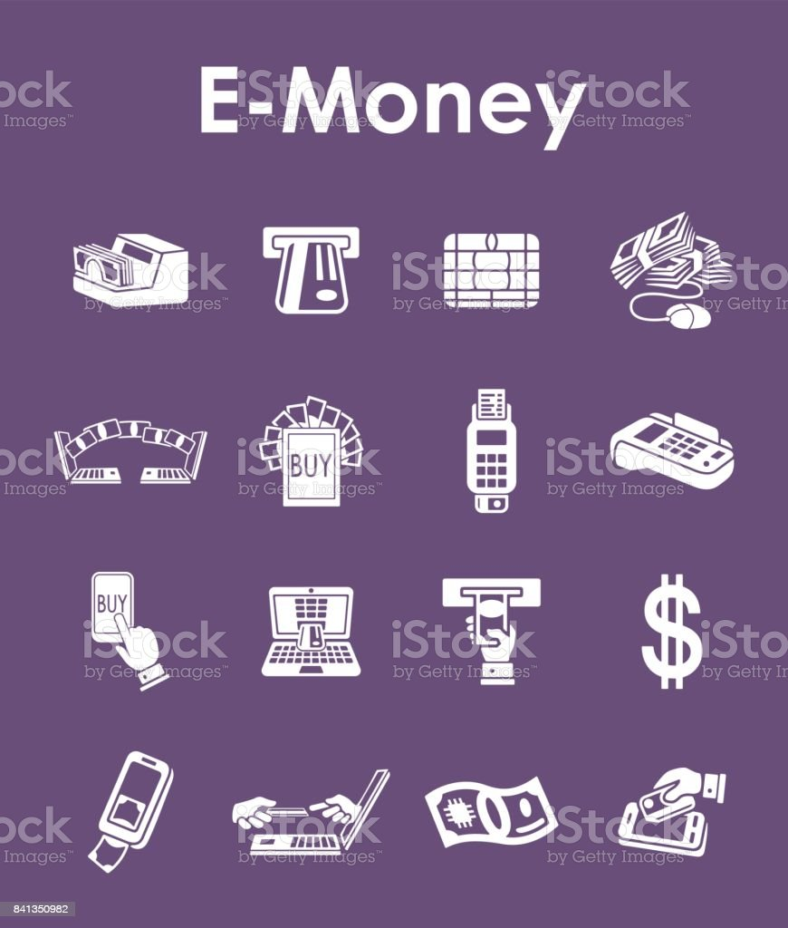 Set Of Emoney Simple Icons Stock Vector Art More Images Of