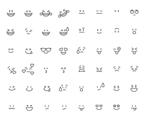 set of emoticon. cartoon face vector illustration - kiss stock illustrations