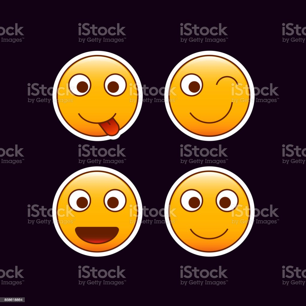 Set of emoticon stickers happy mood emojis royalty free set of emoticon stickers
