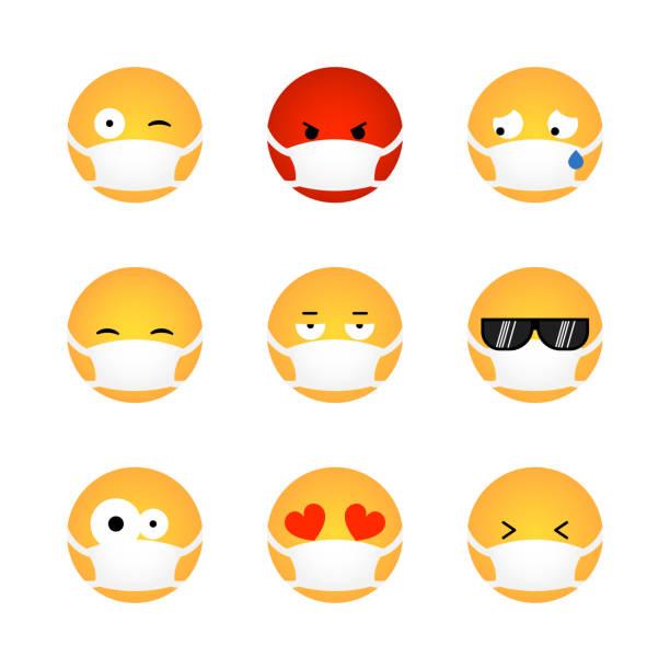 stockillustraties, clipart, cartoons en iconen met reeks emoticon met medisch masker - tears corona
