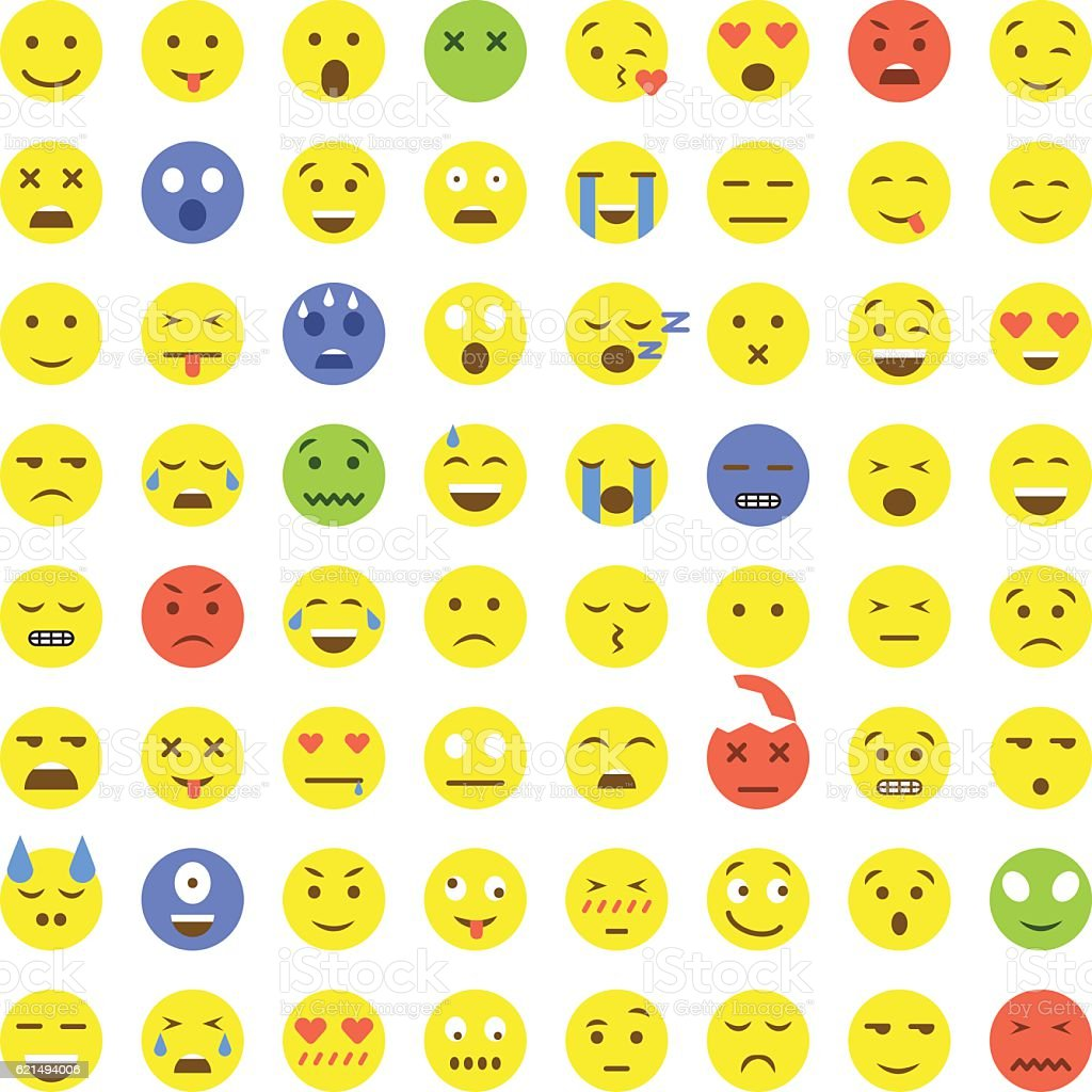 Set of Emoticons. 64 Emoji. set of emoticons 64 emoji - immagini vettoriali stock e altre immagini di allegro royalty-free