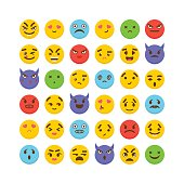 Set of emoticons. Cute emoji icons. Kawaii. Flat design