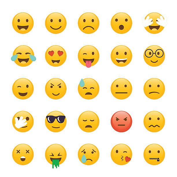 Groupe de Émoticônes. Emoji conception plat, un avatar. Vecteur illus - Illustration vectorielle