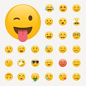 Set of Emoticons. Emoji flat design, avatar design. Vector illus