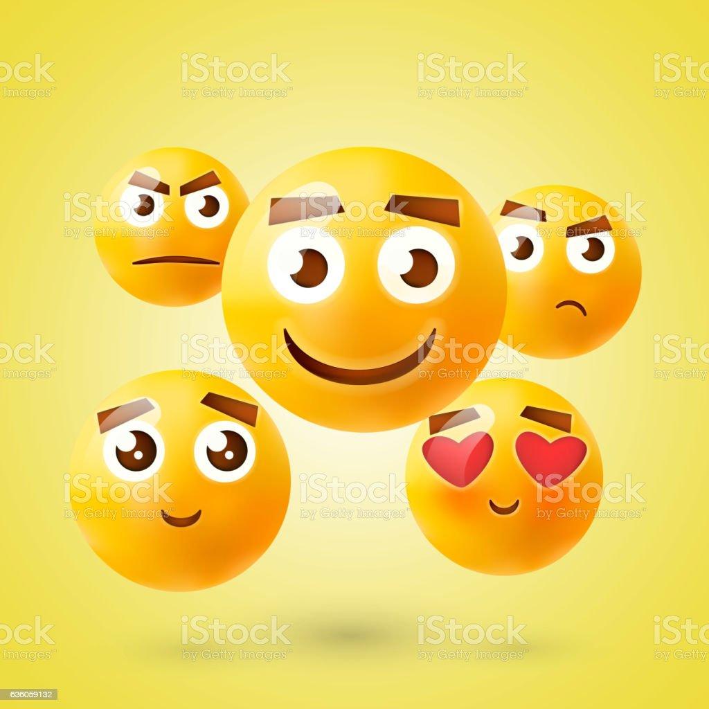 Set of Emoticons. Emoji. Smile icons. Isolated vector illustration on - ilustração de arte em vetor