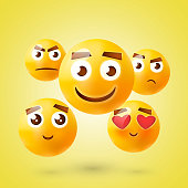 Set of Emoticons. Emoji. Smile icons. Isolated vector illustration on