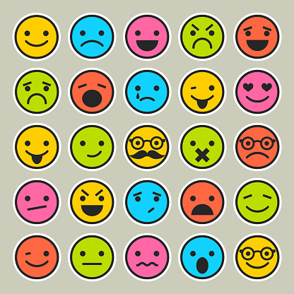 Set Of Emoticons Faces Icons For Design Stock Illustration - Download Image Now