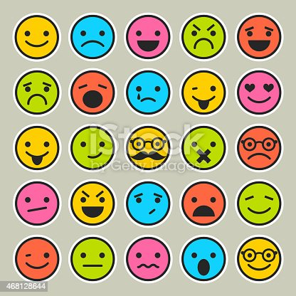 Set Of Emoticons Faces Icons For Design Stock Vector Art & More Images of 2015 468128644