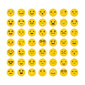Set of emoticons. Flat design. Big collection with different expressions. Cute emoji icons. Vector illustration