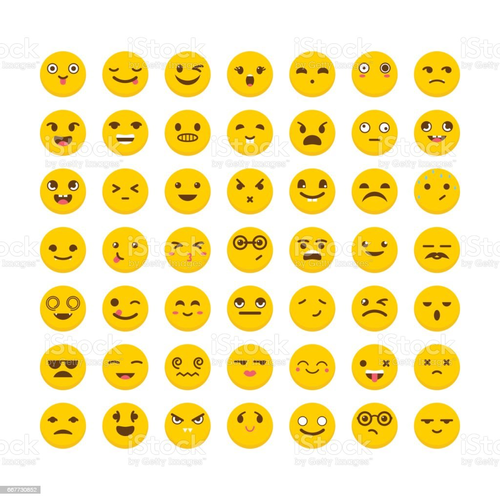 Set of emoticons. Flat design. Big collection with different expressions. Cute emoji icons vector art illustration