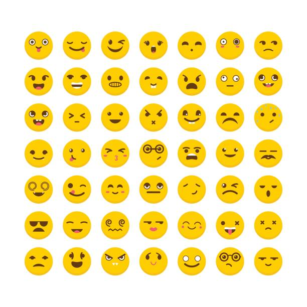 set of emoticons. flat design. big collection with different expressions. cute emoji icons - tears of joy emoji stock illustrations, clip art, cartoons, & icons