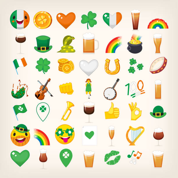 set of emoticons for saint patrick's day holiday. vector icons - kiss stock illustrations