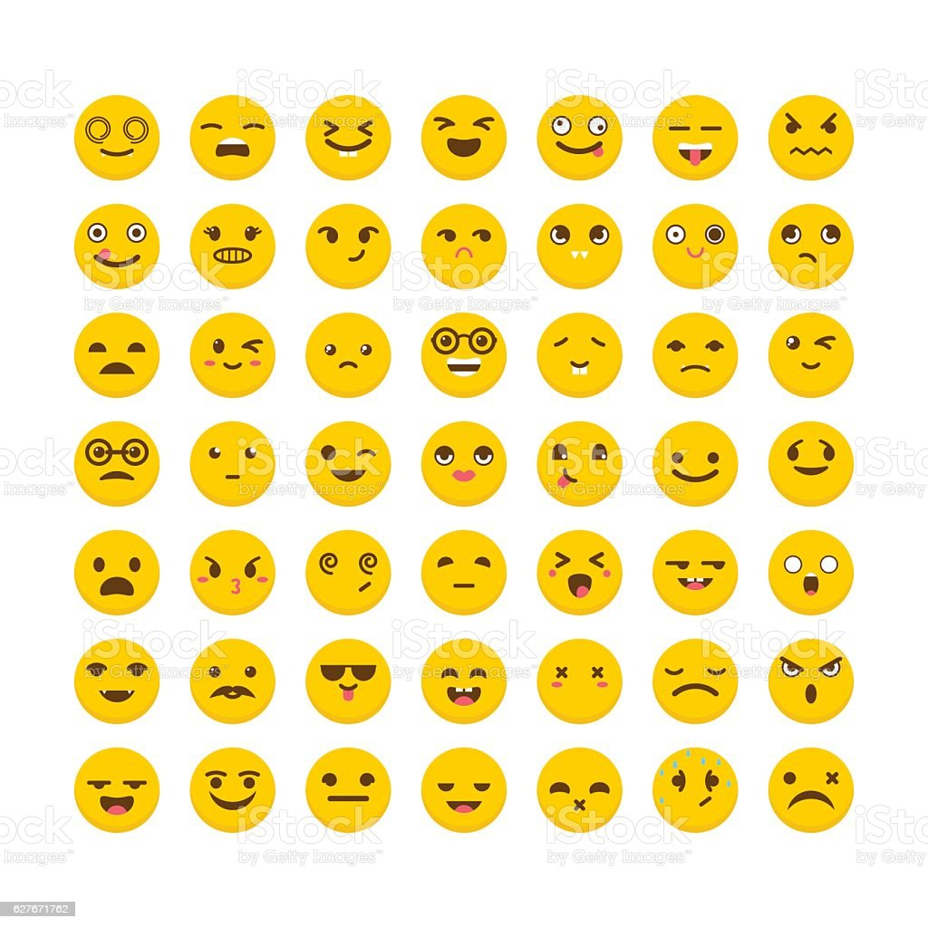 Set of emoticons. Funny cartoon faces. Cute emoji icons - ilustración de arte vectorial