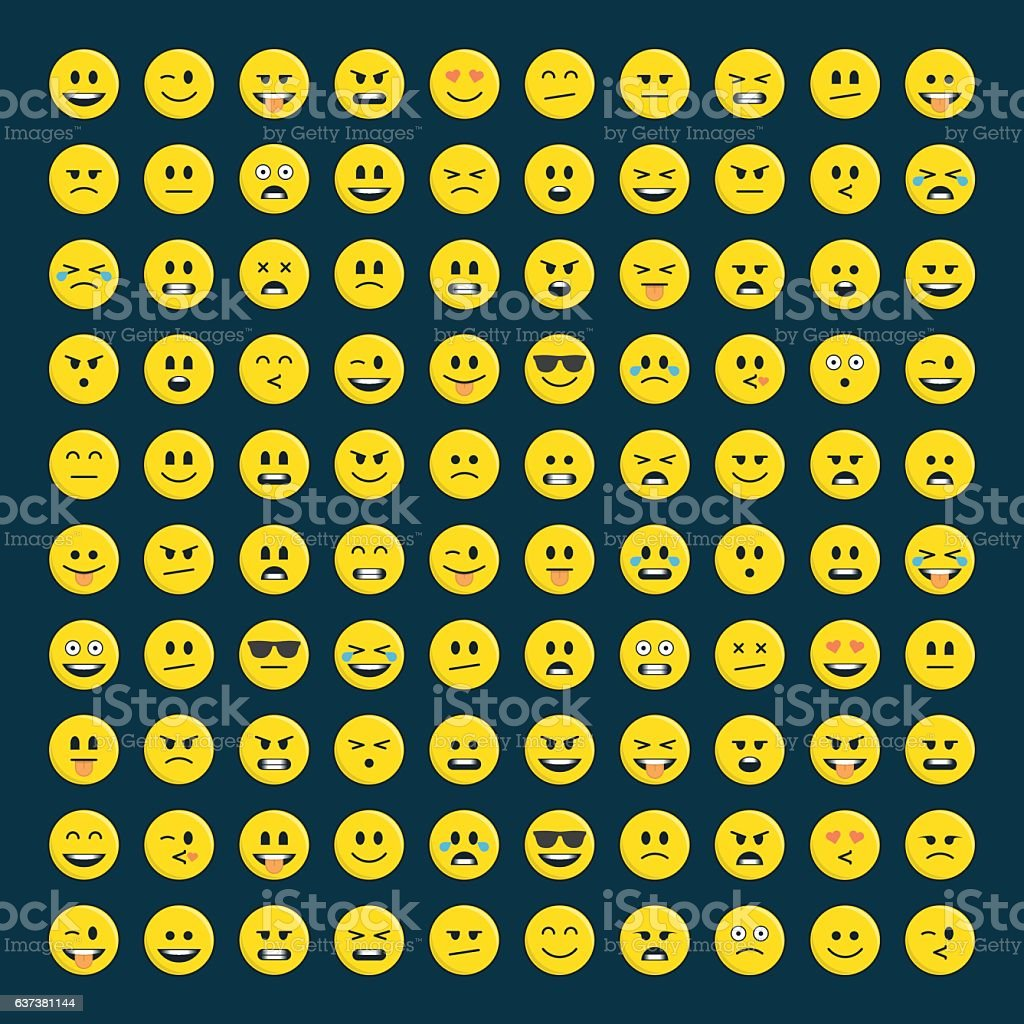 Set of emoticons icon pack. vector art illustration